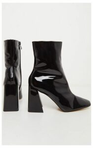 Black Square Toe Flared Block Heel Ankle Boot, Black