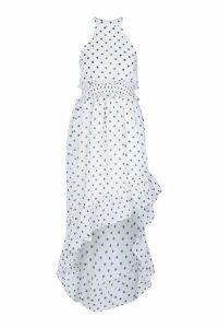Womens Petite Polka Dot High Neck Shirred Waist Maxi Dress - White - 6, White