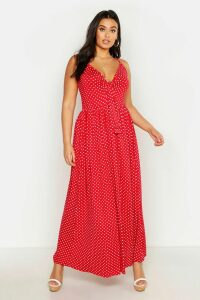 Womens Plus Polka Dot Strappy Knot Front Maxi Dress - Red - 20, Red