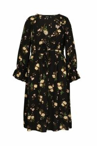 Womens Plus Floral Ruffle Detail Midi Dress - Black - 16, Black