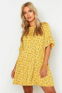 Womens Plus Ditsy Floral Smock Dress - Yellow - 26, Yellow