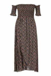 Womens Plus Ditsy Off Shoulder Maxi Dress - black - 18, Black