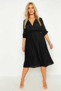 Womens Plus Ruffle Detail Pleated Midi Dress - Black - 20, Black
