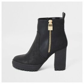 River Island Womens Black faux leather chunky heel ankle boots