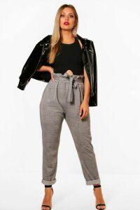 Womens Plus Check Paperbag Tapered Trouser - black - 20, Black