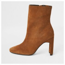 River Island Womens Beige suede heeled ankle boot