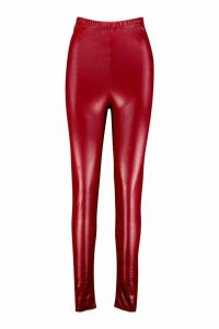 Womens Leather Look Stretch Leggings - Red - 18, Red