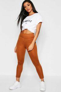 Womens Basic Deep High Waist Leggings - Beige - 14, Beige