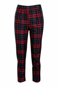 Womens Woven Tartan Check Peg Trouser - red - 12, Red