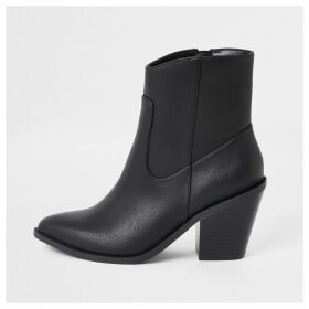 River Island Womens Black western ankle boots