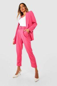 Womens Self Belt Tailored Trouser - Pink - 6, Pink
