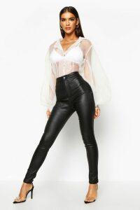 Womens High Waist Matte Leather Look Skinny Trousers - Black - 20, Black