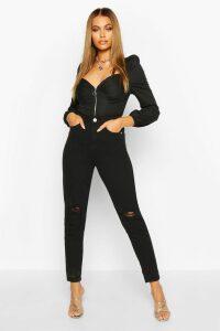 Womens High Waist Distressed Mom Jeans - Black - 12, Black