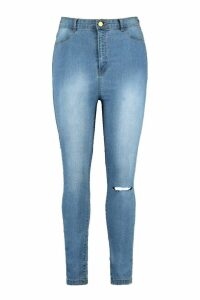 Womens Plus One Ripped Knee High Rise Jegging - Blue - 18, Blue