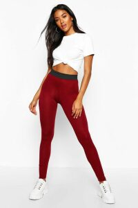Womens Basic Contrast Waist Band Leggings - Red - 10, Red