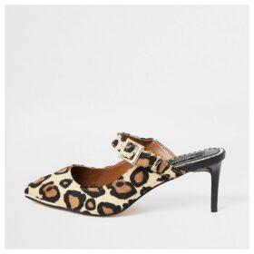 River Island Womens Leopard print suede wide fit slim heel mules