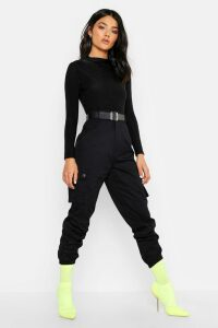 Womens Woven Pocket Cargo Trousers - Black - 18, Black