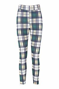 Womens Tartan Check Crepe Highwaist Leggings - green - 14, Green