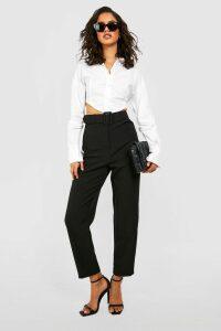 Womens Wide Buckle Belt Straight Tapered Trouser - Black - 10, Black