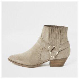 River Island Womens Beige western buckle boots