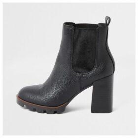 River Island Womens Black chunky heel chelsea boots