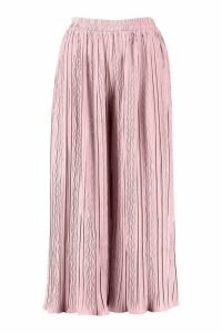 Womens High Waist Pleated Wide Leg Culottes - pink - 10, Pink