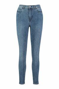 Womens All Sizes High Waisted Stripe Skinny Jean - Blue - 18, Blue