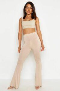 Womens High Waist Basic Skinny Flares - Beige - 10, Beige