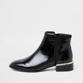 River Island Womens Black pearl embellished ankle boot