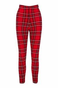 Womens Tartan Check Basic Jersey Leggings - red - 16, Red