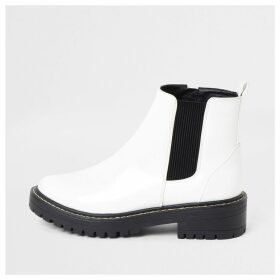 River Island Womens White chunky patent ankle boots