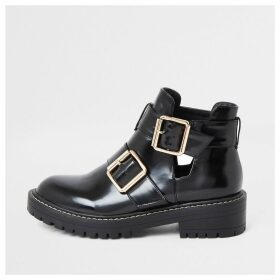 River Island Womens Black patent cut out side chunky boots