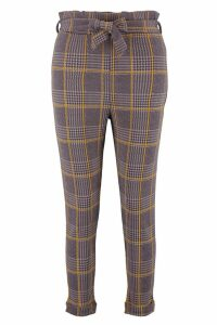 Womens Petite Dogtooth Check Belted Trouser - grey - 8, Grey