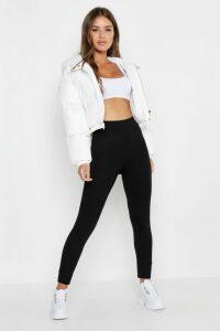 Womens Petite High Waisted Basic Jersey Leggings - Black - 6, Black