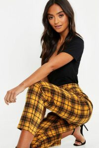 Womens Petite Checked Tartan Trousers - yellow - 6, Yellow