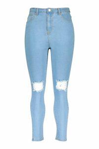 Womens Plus High Waist Distressed Skinny Jean - Blue - 26, Blue