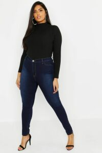 Womens Plus Super High Waisted Power Stretch Jeans - blue - 22, Blue