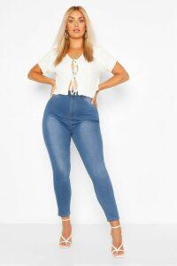 Womens Plus Button Contrast Stretch Jegging - blue - 20, Blue