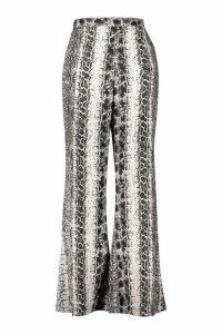 Womens Plus Snake Woven Wide Leg Trouser - grey - 20, Grey