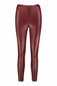 Womens Matte Leather Look Leggings - Red - 14, Red