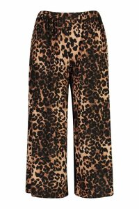 Womens Plus Leopard Print Wide Leg Culotte - brown - 20, Brown