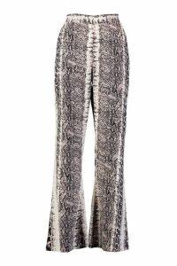 Womens Petite Wide Leg Snake Trouser - beige - 14, Beige