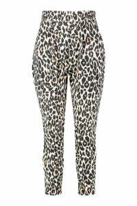 Womens Plus Pleat Front High Waisted Leopard Trouser - beige - 26, Beige