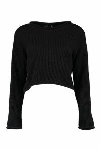 Womens Petite Roll Hem Cropped Jumper - Black - 14, Black