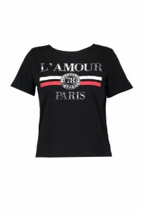 Womens Plus L'Amour Paris Slogan T Shirt - Black - 16, Black