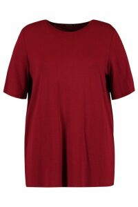 Womens Plus Jersey Split Open Back T-Shirt - red - 24, Red