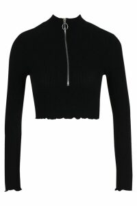 Womens Petite Georgina Rib Knit O Ring Detail Crop Top - Black - 16, Black