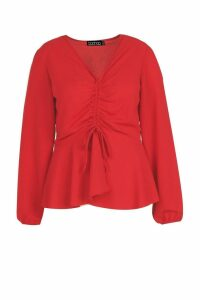 Womens Plus Woven Ruched Front Peplum Smock Top - Red - 20, Red
