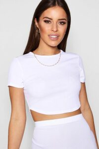 Womens Petite Rib Curved Hem Short Sleeve Crop Top - White - 16, White