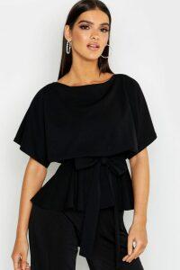 Womens Slash Neck Tie Waist Peplum Hem Top - Black - 12, Black